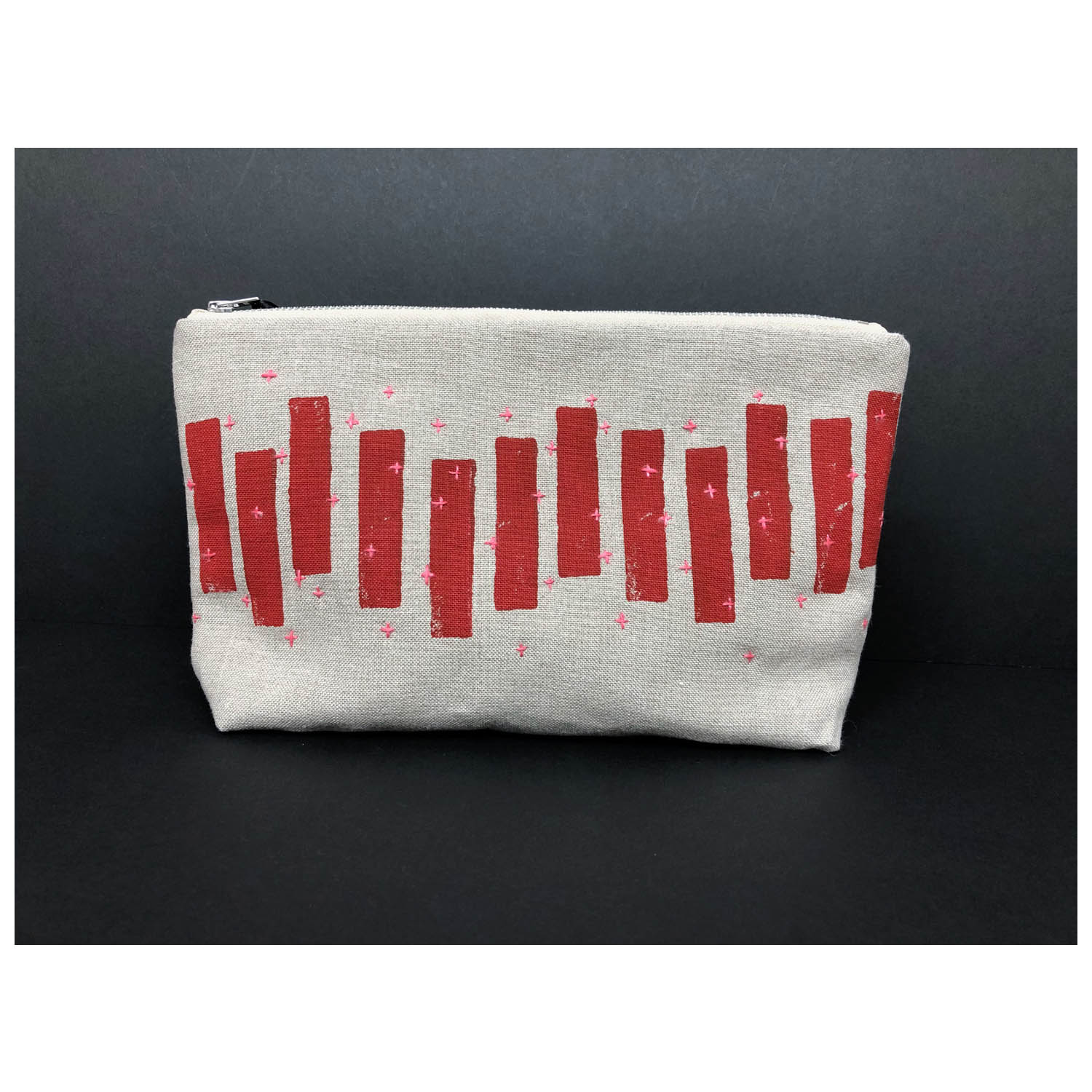 Colette Moscrop Red Blocks Embroidered Clutch Linen Textile Ink Cotton Linen Thread 275x160x55mm £48
