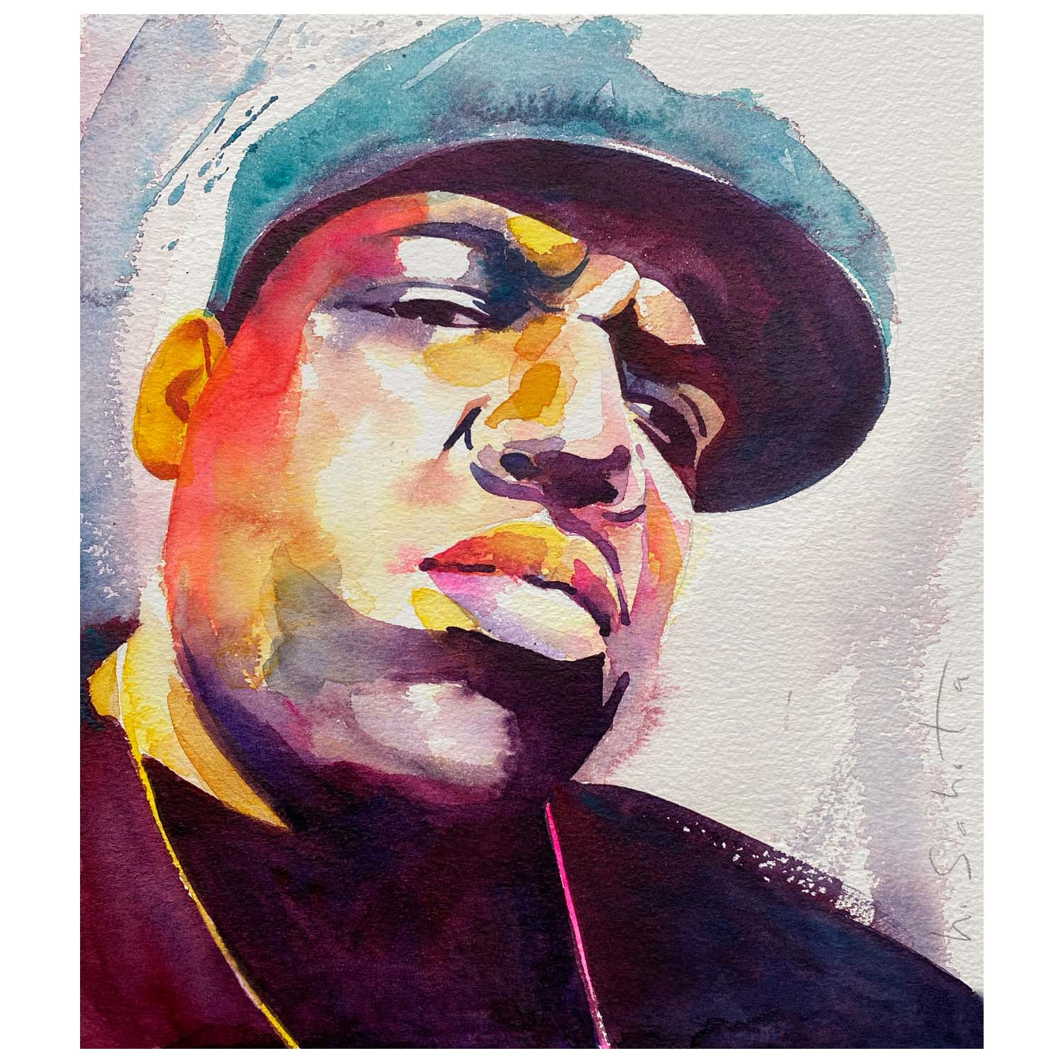 Harinder Sahota Notorious B.I.G Watercolour on paper 25x26cm £100