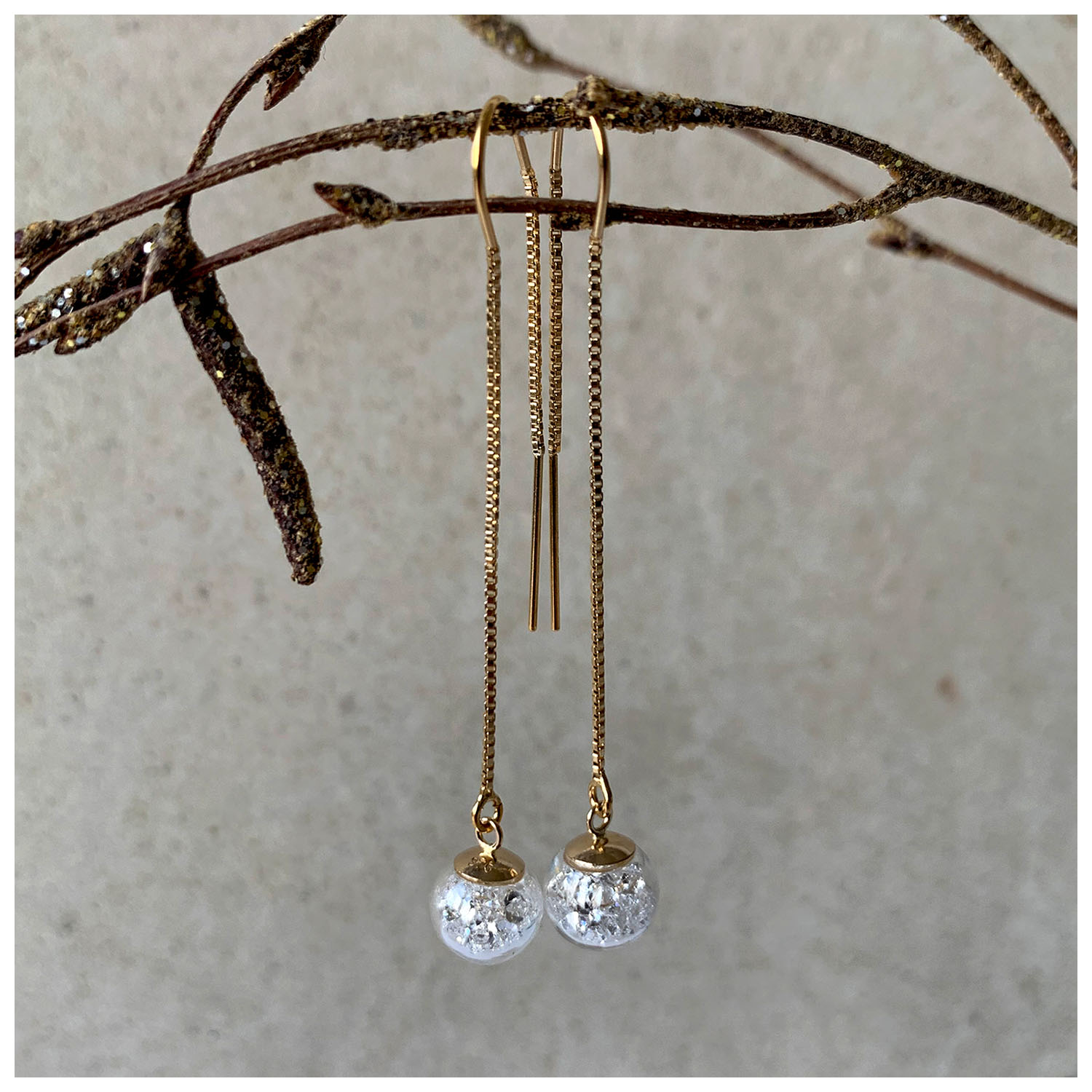 Lizzy Chambers, Crystal Drops 9ct Plated Gold, 57x8mm £75