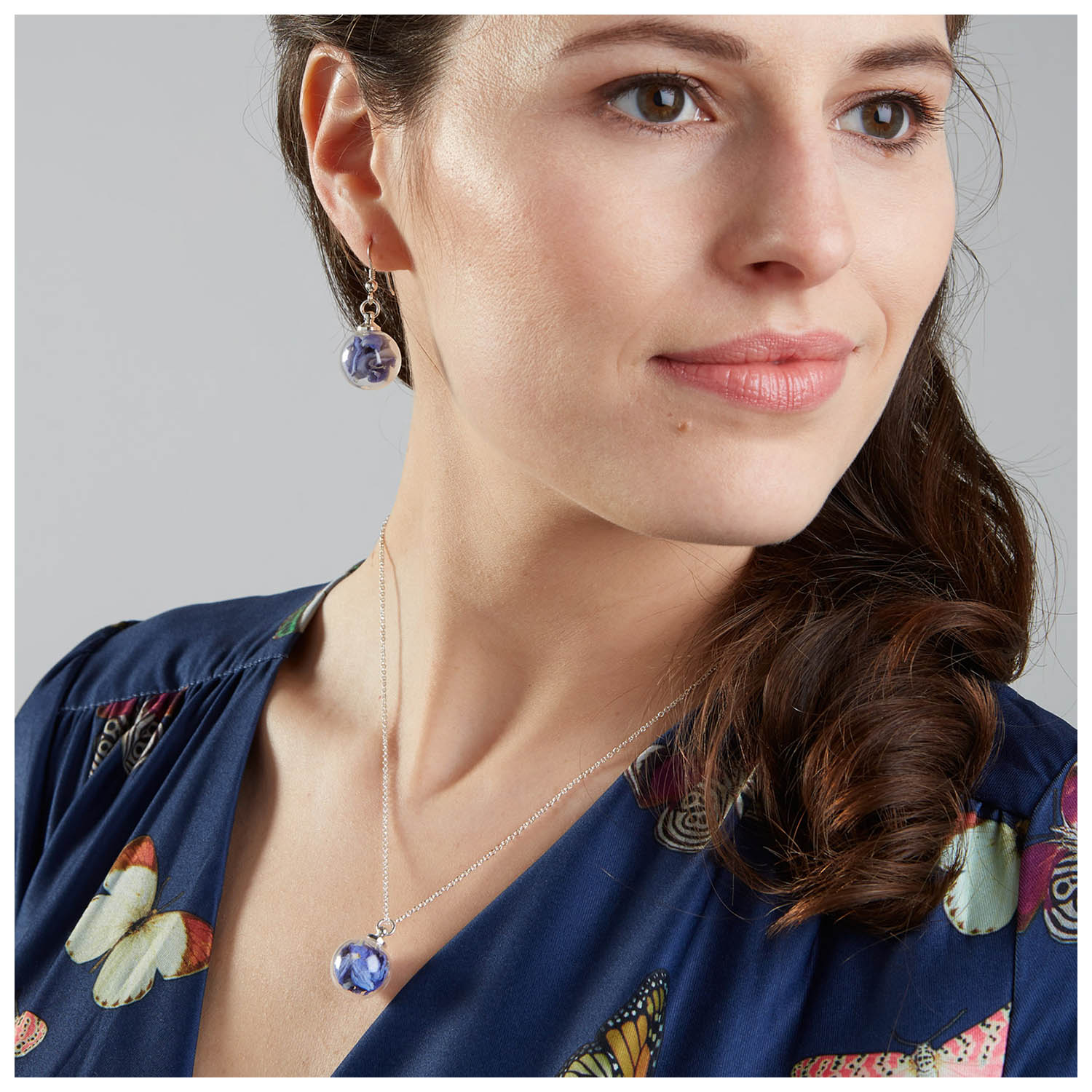 Lizzy Chambers Light Blue Necklace and Earrings Sterling Silver £30 each