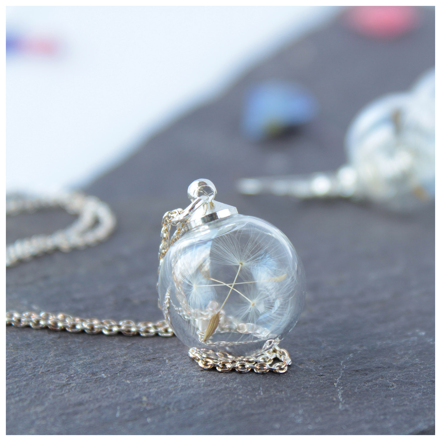 Lizzy Chambers Mini Glass Dandelion Necklace Sterling Silver 16mm diameter with 18 inch Sterling Silver Chain