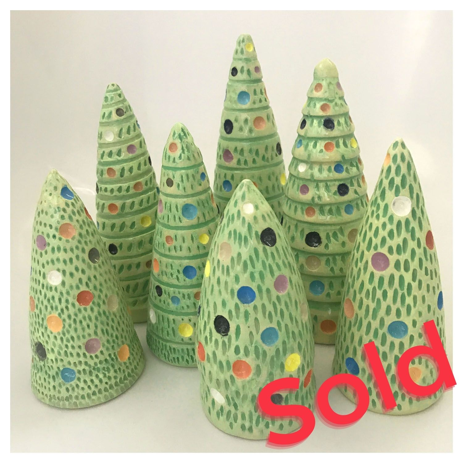 Nicole Lyster Christmas Trees Stoneware Ceramic up to 200mm high £35 Fun Colourful Decorative Ceramic Christmas Trees to Brighten up your home this festive Season