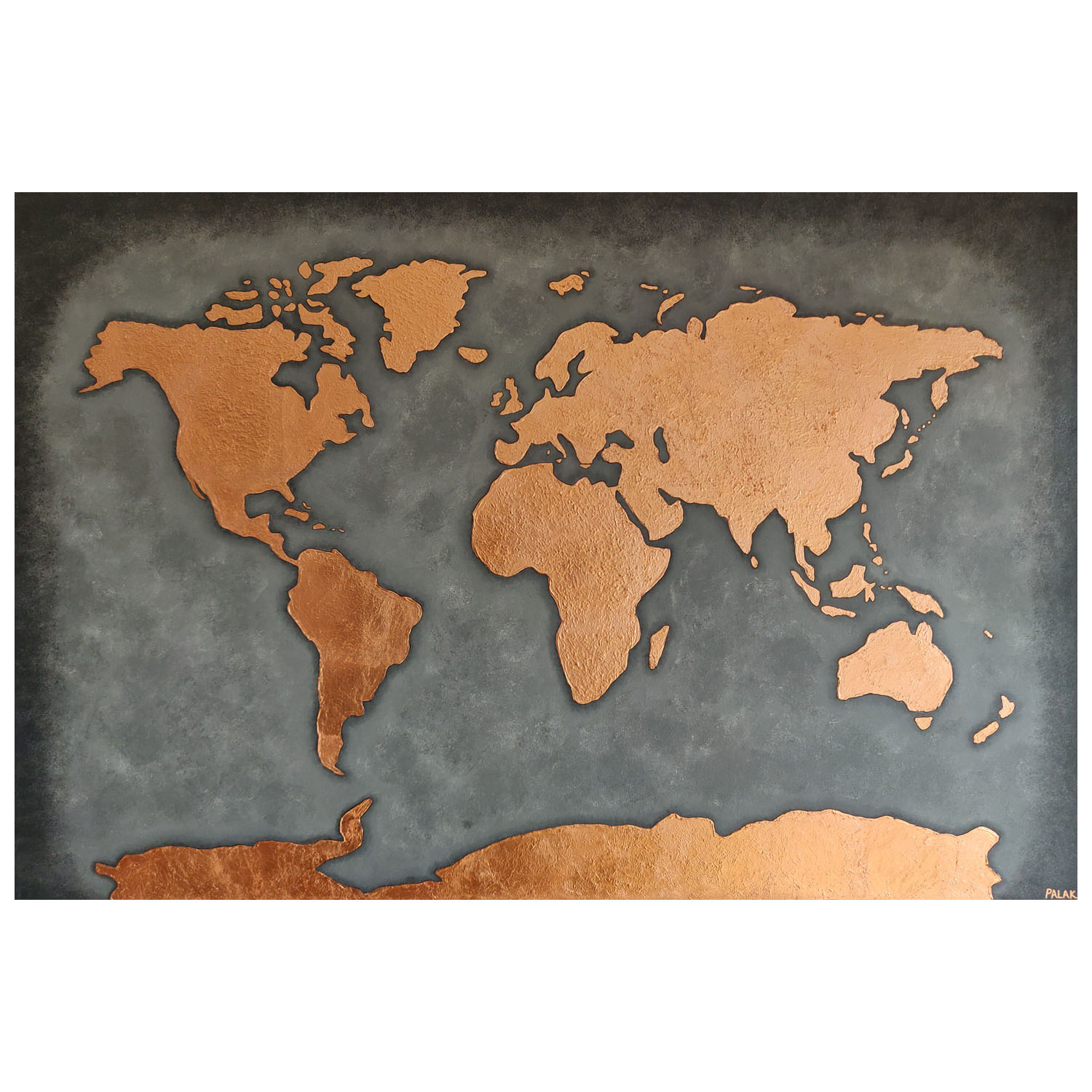 Palak Patel, Copper and Grey World Map, Acrylics and Copper Leaf, 1500mmx1000mm, £495