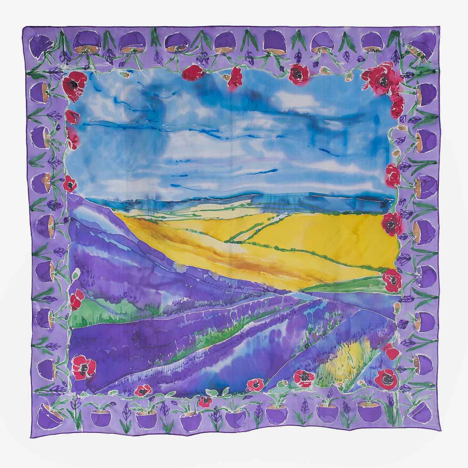 Lavender Fields with Poppies, a hand painted silk scarf by Jane Anne Ryan