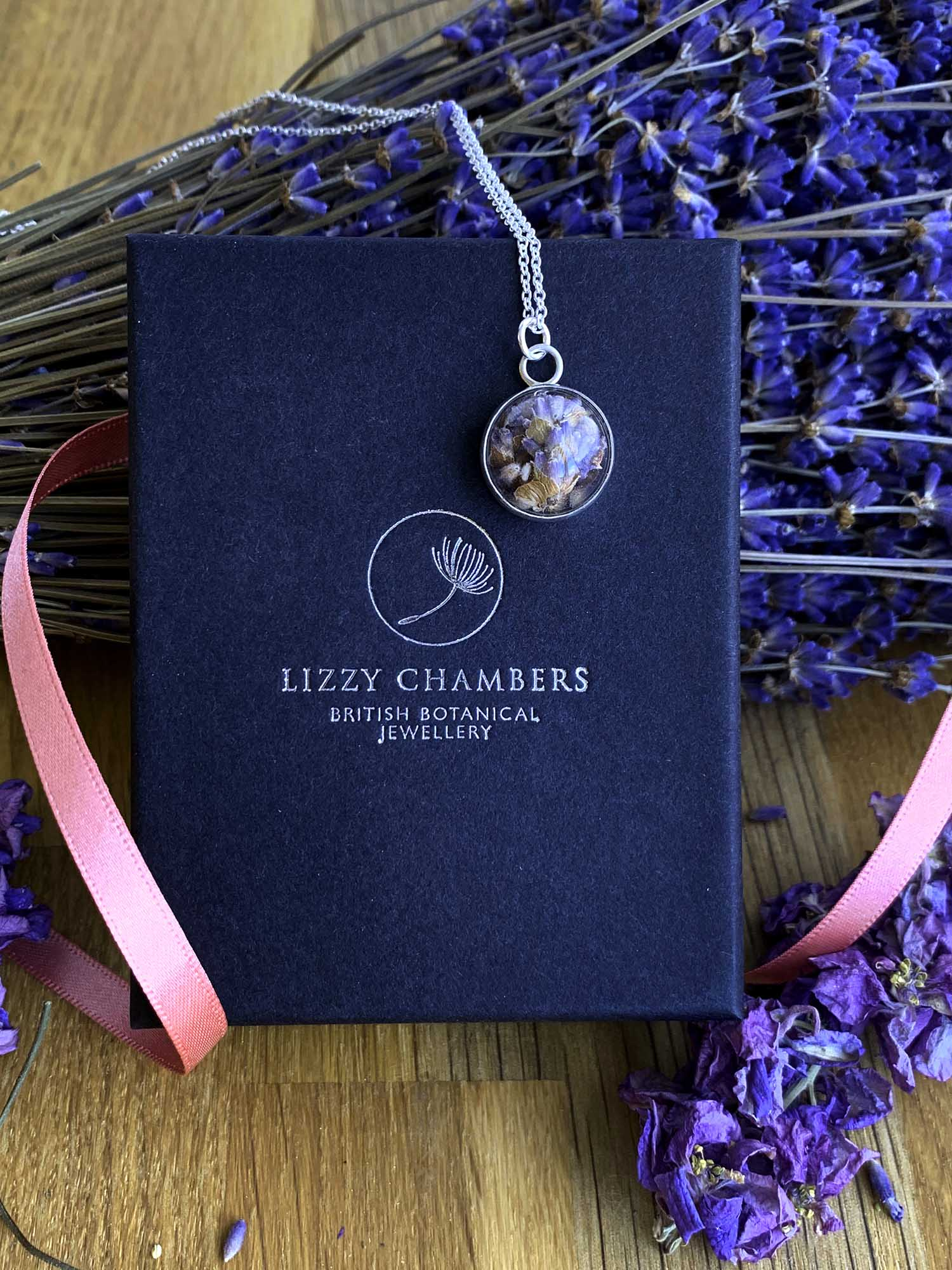 Real Lavender Flower Sterling Silver Necklace by Lizzy Chambers