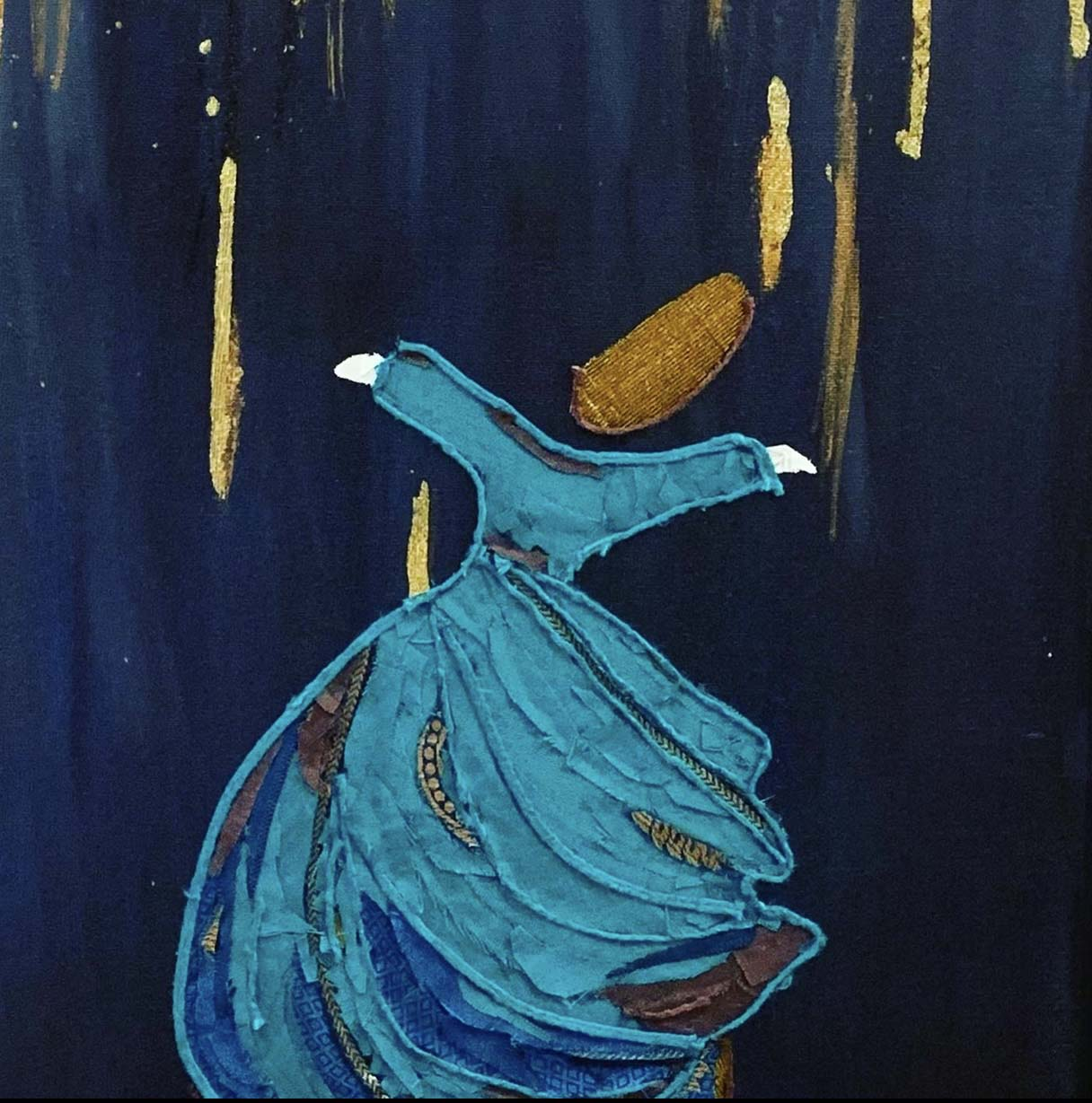 fabric art, acrylic paint, blue, turquoise, mixed media, sufi, swirling dervish, gold,  love, life, dance, rain
